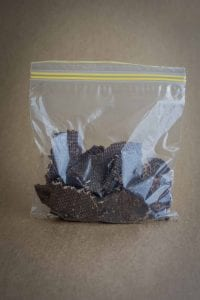 How to make jerky - finished jerky in zip locked bag