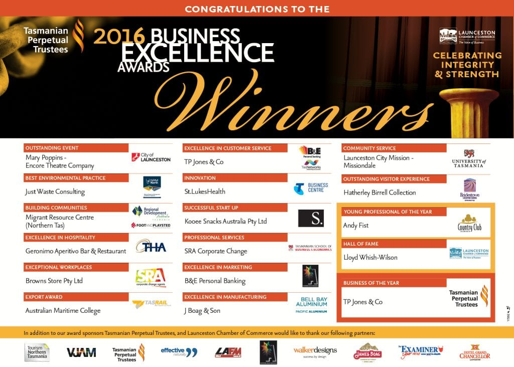 Launceston Chamber of Commerce 2016 Business excellence awards winners