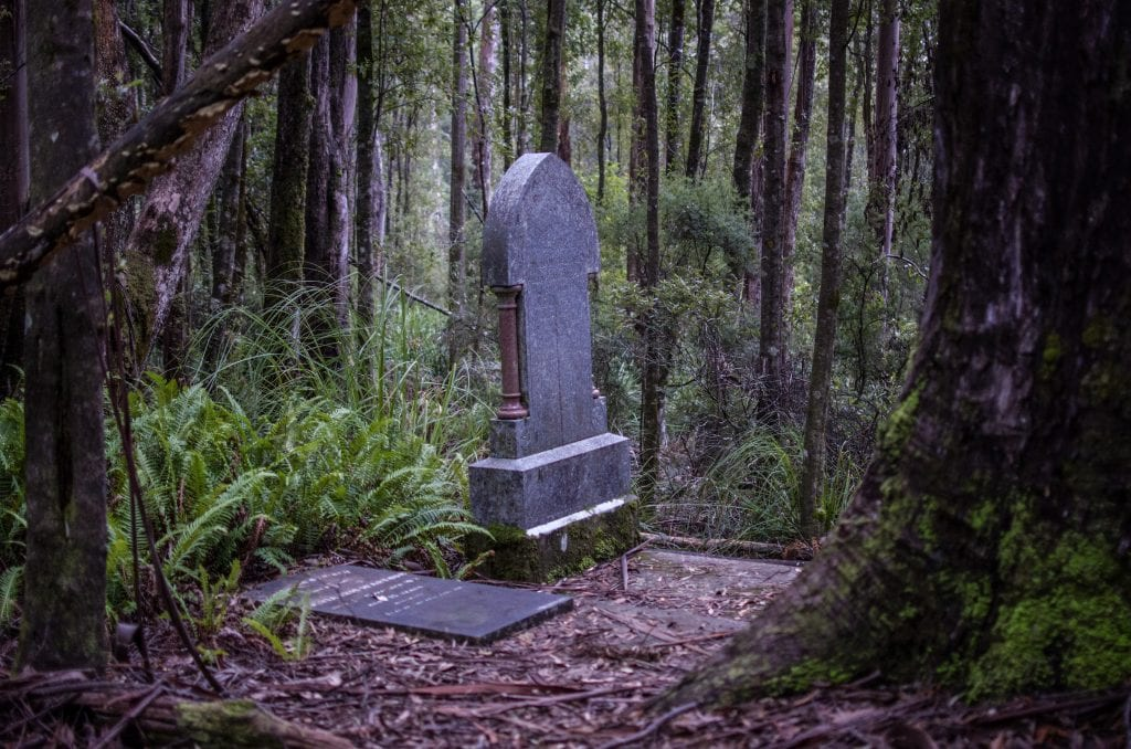 Tombstone at Balfour, West Tasmania, an abandoned mining town