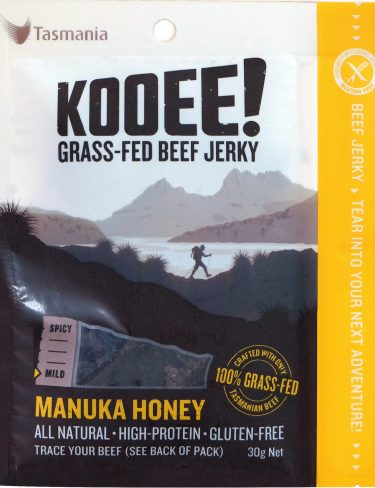 Manuka honey flavour jerky from the front - 30g bag