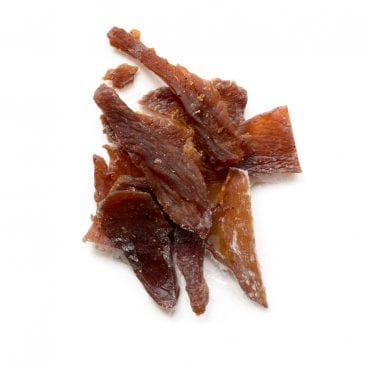 Chicken jerky on white backgorund