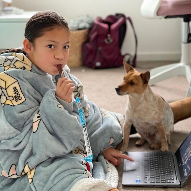 It's lockdown week 134. 🗓 The kids wake up, get dressed into their official school uniform oodie. Parents have long given up and now the lessons are facilitated by the family dog. 🐶  Just kidding, this is just @moodlegymnast enjoying one of our organic beef sticks with her best friend. But also probably not far from the truth for many Sydney parents this morning. 😳  We're here to make life *slightly* easier with our crowd-pleasing snacks to get through the day. Order online, delivery to your door. 📦  #wheredoyoukooee #lockdownlife #snacksticks  📸: @moodlegymnast . . . . . . . . . . .  #beefjerky #glutenfreeaustralia #keto #ketogenic #ketodiet #ketoaf #ketoeats #ketosnacks #biltong  #lowcarb #lchf #healthykidsfood #healthykidssnacks #twiggystick #snackstick #meatstick #lunchbox #sydneyfoodie #ketoaus #ketoau #ketoaustralia #ketoaustralia🇦🇺 #lowcarbaustralia #lunchboxideas #coeliac  #ketolifestyle #sydneylockdown