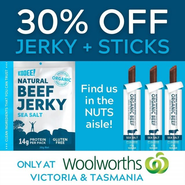 💥Victorian & Tassie friends!💥 Head into your local @woolworths_au (or online!) before this deal ends on Tuesday night and stock up for the month! 🛒  #wheredoyoukooee #jerky #twiggysticks