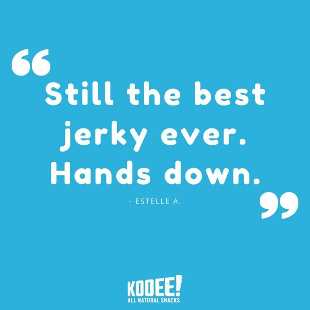 The kind of stuff we love to read! 🤩Thanks to customer Estelle for the awesome feedback on our grass-fed beef jerky.  Make sure to head online to grab our jerky delivered to your door! 🤙  #wheredoyoukooee #jerky #happycustomer